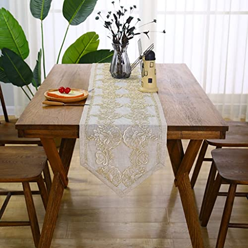 LASHI Lace Embroidered Table Runner, Bohemian Cotton Crochet Hollow Macrame Table Cloth for Wedding Party Dining Table Cover (Color : Beige, Size : 35x310cm/13.7x122in)