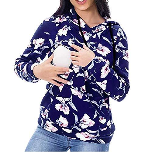 Huixin Femmes Maternité Allaitement Thé Bleu Fleurs Imprimé Vêtements À Manches Longues T Shirt Allaitement Shirt De Maternité Stop Femmes Haut pour Les Femmes Enceintes (Color : Blau, Size : XL)