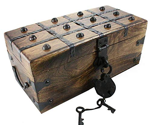 "Well Pack Box Treasure Chest Pirate Large 12"" x 6"" x 5"" Wooden Locking Party Toy Box Nautical Accessory for Kids"