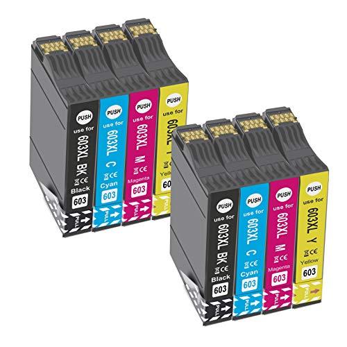OGOUGUAN 603 XL Cartuchos de Tinta para 603XL Compatible con Expression Home XP-2100 XP-2105 XP-3100 XP-3105 XP-4100 XP-4105 Workforce WF-2810DWF WF-2830DWF WF-2835DWF WF-2850DWF(8 Paquete)