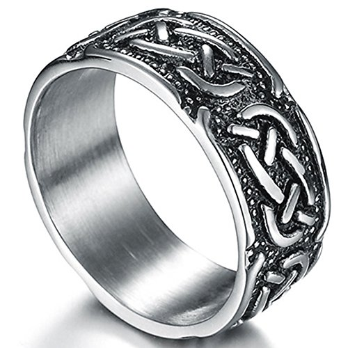 Jude Jewelers 9mm Vintage Stainless Steel Celtic Knot Ring Biker Cocktail Party (Grey, 9)