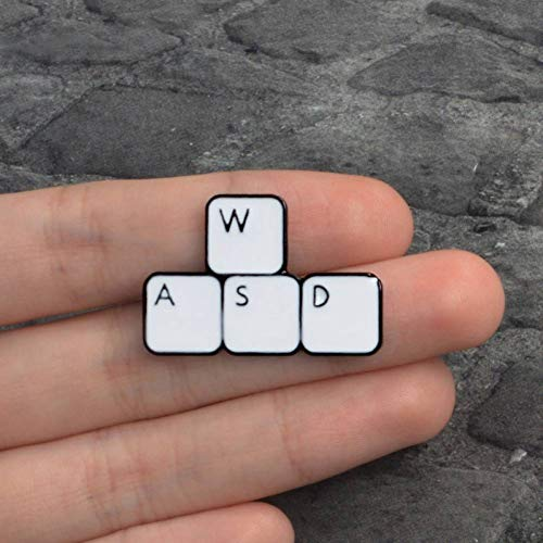 JTXZD broche WASD Gaming Keyboard Emaille pin Keys tabletten Broches Game icoon Denim Jeans Pin Badge op Lapel pin voor Kleding dop zak