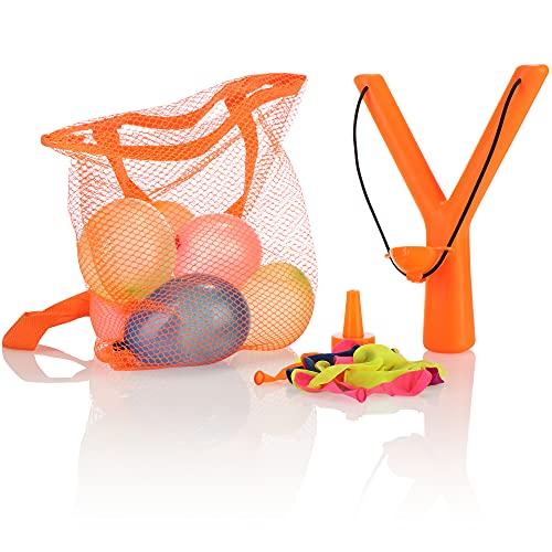 Robin Goods® 38-teiliges Wasserbomben Set - Wasserbombenkatapult, Wasserballons und Tragetasche - Wasserbomben Schleuder für Kinder
