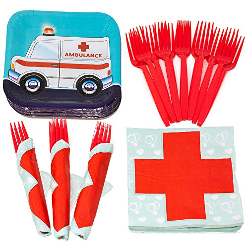 Doctor Value Party Supplies Pack (58+ Pieces for 16 Guests), Value Party Kit, Doctor Party Plates, Doctor Birthday, Napkins, Forks, Tableware