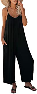 Women's Loose Sleeveless Jumpsuits Adjustable Spaghetti...