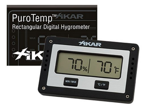 Xikar PuroTemp Rectangular Digital Hygrometer, Compact and Lightweight Cigar Humidor Accessory, Easy to Calibrate, Black
