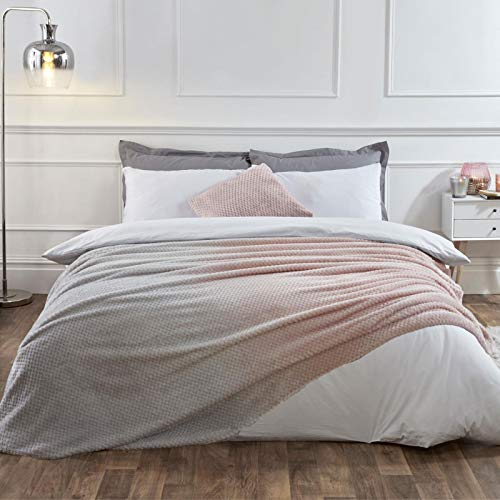 Dreamscene Waffle Ombre Soft Fleece Throw Over Blanket Bed Sofa Luxury Popcorn Fluffy Bedspread for Sofa Couch Settee Chair, Blush Grey - 125 x 150cm