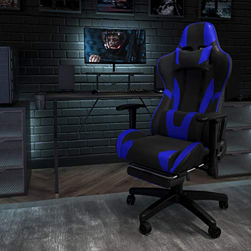 Flash Furniture X20 Gaming Chair Racing Office Ergonomic Computer PC Adjustable Swivel Chair with Fully Reclining Back in Blue LeatherSoft