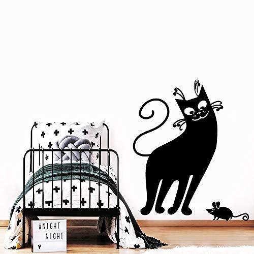 mlpnko Kreative Katze Wandaufkleber Selbstklebende Kunst Tapete entfernbare Wandaufkleber Wanddekoration 50x61cm