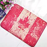 N/A Felpudo Interior Impreso en 3D Elegante Grunge Bandera de Canadá Baño Cocina Felpudo Estera Bandera Canadiense Apenada de Canadá Alfombrillas de Puerta Alfombra de Goma Decoración lavable-50X80CM