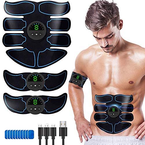 【2021最新版】EMS腹筋ベルト 腹筋トレーニング ダイエット器具 USB充電式 液晶表示 9段階調節 6モード お腹 腕 腿 腰 多部位対応 男女兼用 健康機械 ジェルシート12枚 日本語説明書付属
