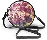 BAODANLA Bolso redondo mujer Tie Dye Women Soft Leather Round Shoulder Bag Zipper Circle Purses Sling Bag