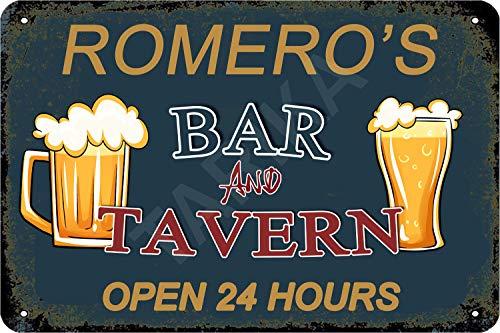 Tarika Romero's Bar and Tavern Open 24 Hour Eisen Poster Vintage Gemälde Zinn Zeichen für Straße Garage Home Cafe Bar Mann Höhle Farm Wanddekoration Handwerk