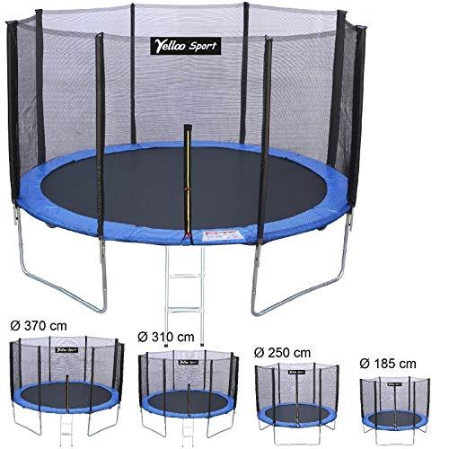 YELLOO YellooSport Trampolino Tappeto Elastico Salto Bambini Ø 185 250 310 370 cm Certificato CE TUV GS Alta qualità Blu (Diametro, 185 cm)