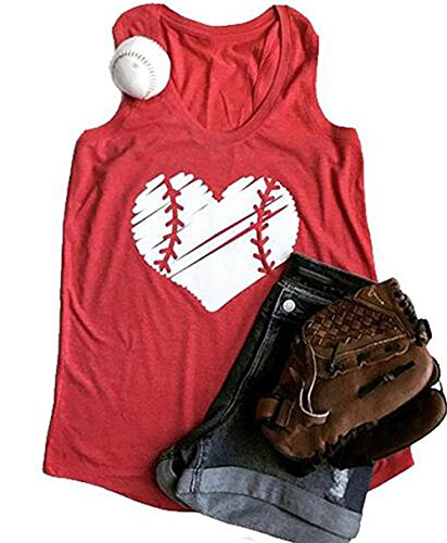 YUYUEYUE Baseball Mom Heart Print Funny Tank Top Women's Casual Vest Cami T-Shirt Tee Red