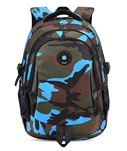 FNTSIC Camouflage Primary School Bags Children Backpacks Large Capacity Lightweight Shoulder Bags Ideal for Teenage Boys and Girls (Camo Blue)