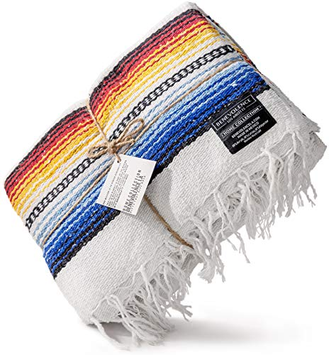 Premium Mexican Blanket | Authentic Hand Woven Falsa Blanket & Yoga Blanket, Made by Traditional Mexican Artisans | Perfect Camping Blanket, Beach Blanket, Picnic Blanket, & Car Blanket (Blanco)