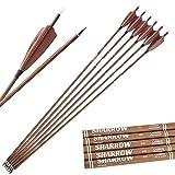 SHARROW 12pcs Flechas de Carbono 31 Pulgadas con Plumas Naturales Spine 340-600 Flechas de Caza para Arco Compuesto Recurvo (Spine 400, Tipo 1)