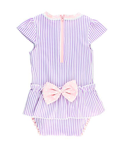 RuffleButts Infant/Toddler Girls Peplum Skirt One Piece Rash Guard Swimsuit - Lilac Seersucker - 12-18m