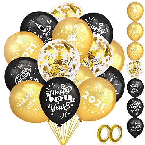HOWAF Juego de Globos de decoración de Feliz año Nuevo Negro y Dorado,  40 Globos de látex de año Nuevo 2021 Globos de Confeti Dorado y 2 Cintas para Decoracion Nochevieja 2021