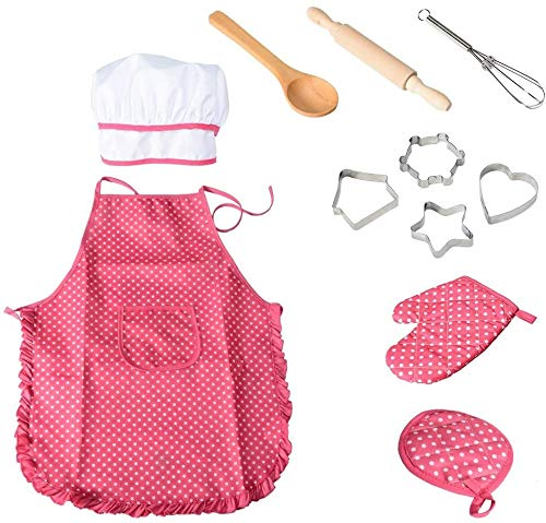 NIWWIN Chef Costume Set Kids Aprons,11 Pcs Children Cooking Play Kitchen Waterproof Baking Role Play - Toddlers Best Birthday Christmas Xmas Gifts (Pink)