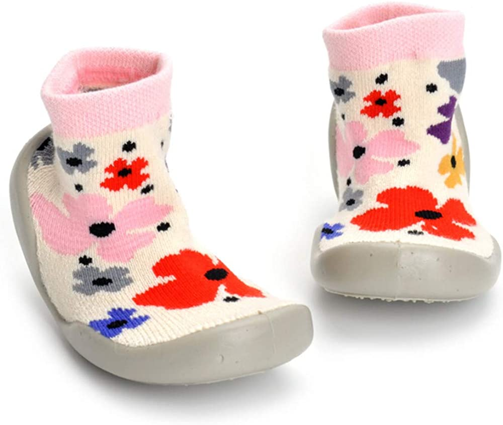 TSAITINTIN Toddler Girls Boys Sock Shoes Infant Soft Rubber Sole Shoes Green Flower