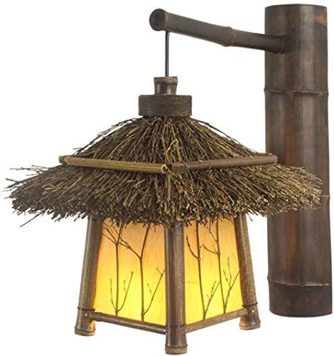 Aplique de pared decorativo de madera para interiores, lámpara de iluminación de pared tejida a mano Vintage para balcón, pasillo, sala de estar, pasillo-amarillo