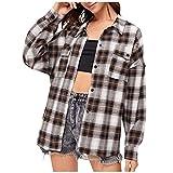 Wave166 Blusa de mujer a cuadros camiseta de manga larga con botones y diseño de cuadros, marrón, M
