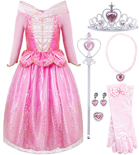FUNNA Sleeping Princess Costume for Beauty Girls Dress up Pink with Accessories, 5T