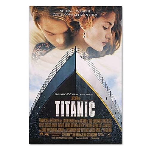 DNJKSA Póster de película clásica Titanic Bar Cafe HD póster artístico Impreso en Lienzo Retro decoración del Dormitorio del hogar-50x75cm sin Marco