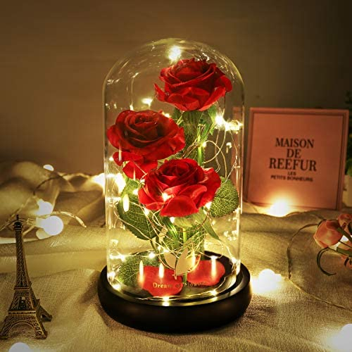 24K Galaxy Rose Colorful Rose Artificial Flower Beauty and The Beast Rose Colorful Led Lights product image