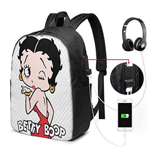 Bolsa de Viaje multifunción para portátil de Viaje, Mochila de Lona con Puerto de Carga USB y Orificio para Auriculares, para Adolescentes y niñas – Kiss Betty Boop Animados de Dibujos Animados
