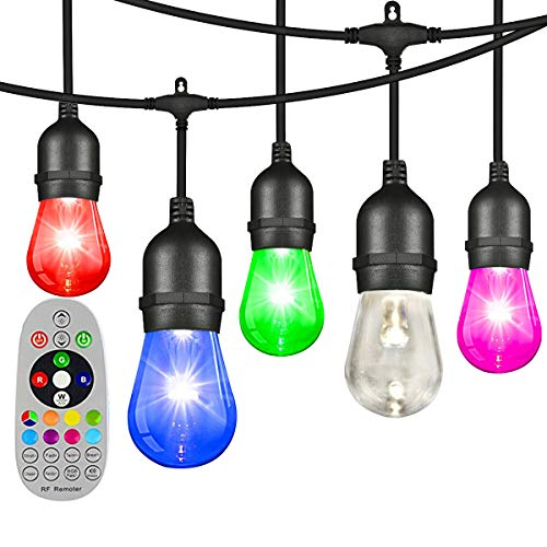 ONIVIB 14.6M LED Outdoor RGBW Color Changing String Light, 16(15+1Free) Dimmable Bulb, Wireless Remote Control, Heavy-Duty Commercial Grade, Waterproof, for Garden Patio Backyard