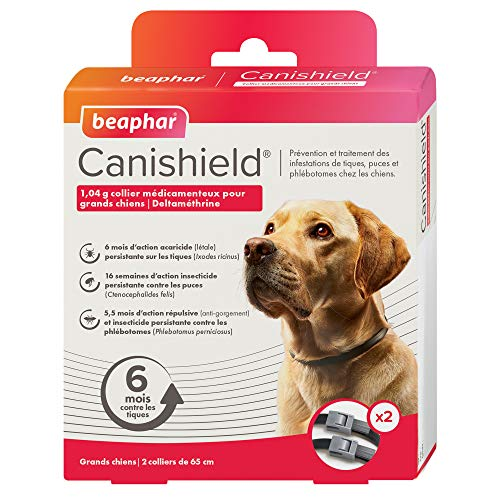 Beaphar - CANISHIELD 1,04 g – Lot de 2 colliers antiparasitaires pour grands chiens – Substance active : Deltaméthrine - Agit contre les tiques, les puces et les phlébotomes – 65 cm
