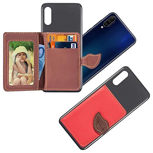 vingarshern HandyHülle für UMIDIGI One Max Schutzhülle Mit Haftendes Mini Geldbörse,Kartenhülle Aufklebbare Bumper Etui Umidigi One MAX Hülle Silikon Case+Leder Brieftasche,Rot