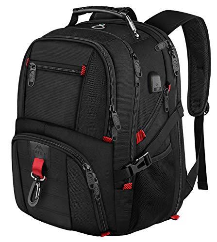 MATEIN 17 Pollici Zaino Laptop Backpack Men, Zaino Scuola Zaino Zaino Daypack, Business Notebook Borse Impermeabile Grande con Porta di Ricarica USB per Gli Uomini Donne Nero