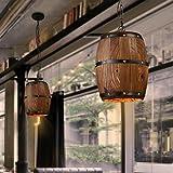 Retro Wood Wine Barrel Hanging Ceiling Lamp Lighting Fixtures Rustic Restaurant Cafe Kitchen Bar Light Crafts Pendant