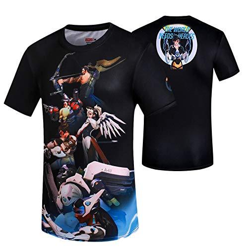 tzxdbh Anime Que rodea la Camiseta de Manga Corta Luffy Camisa Estampada de Dibujos Animados Casual de Verano Masculino 守望 先锋