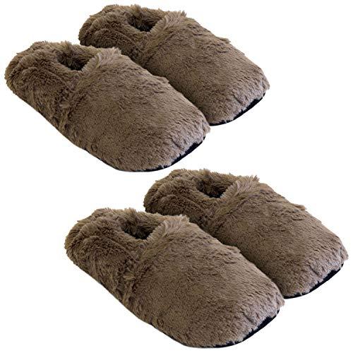 Körner-Sox 2 Paar aufheizbare Hausschuhe Gr M 36-40 Schokobraun Körnerpantoffeln für Mikrowelle und Ofen - Mikrowellenhausschuhe Wärmepantoffeln Wärmehausschuhe Supersoft