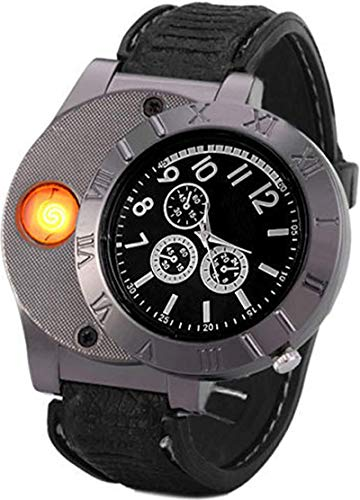 Findtime Men USB Rechargeable Cigarette Cigar Lighter Watch Novelty Cool Lighters Windproof Flameless Unique Designer Wristwatches