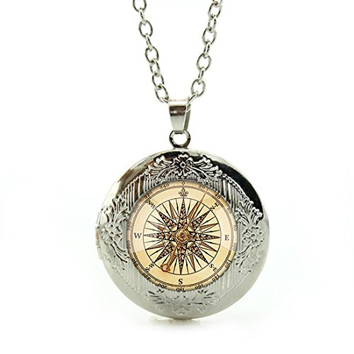 Women's Custom Locket Closure Pendant Necklace Compass Clock Included Free Silver Chain, Best Gift Set