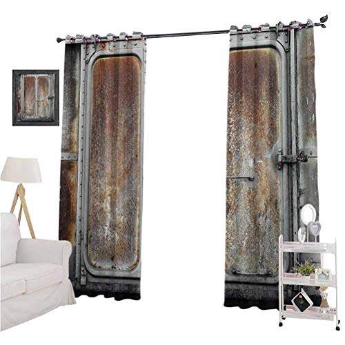 Industrial Decor Grommets Curtain for Kids Room Vintage Railway Container Door Metal Old Locomotive Transportation Iron Power Design Suitable forThe Best Choice for Bedroom and Living Room W108 x L8