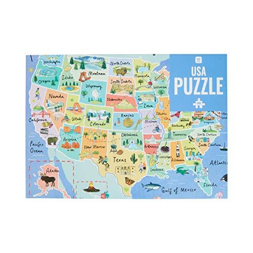 1000-teiliges USA 50 States Kartenrätsel Puzzle & Poster | Illustrated | American Landmarks Travel | Regentag, Aktivitäten zu Hause, Geburtstagsgeschenk