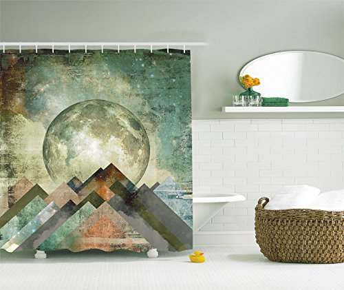 Ambesonne Vintage Shower Curtain Rustic Geometric Decorations by, Grunge Pastel Moonshine Moon Print Retro Paintings, Polyester Fabric Bathroom Shower Curtain Set with Hooks, Teal Beige Brown