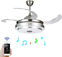 FINE MAKER 42'' Modern Ceiling Fan with Light LED Integration Three-Color Light with Smart Bluetooth Music Player and Remote Control Adjustment Speed ABS Invisible Blade