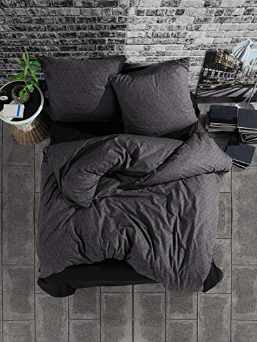 ZIRVEHOME Bettwäsche 200x220 cm. 3 teilig Set, Anthrazit, 100% Baumwolle/Renforcé mit Reißverschluss Atmungsaktiver Bettbezug schwarz geometrische Muster mit Kissenbezug 80x80 cm. Monza V1