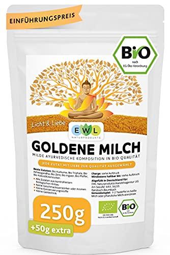 Bio Goldene Milch Golden Milk Kurkuma Latte Mix 250 GR. +50 GR.extra XXL Pack mit Kurkuma, Triphala, Ashwaganda, Ceylon Zimt, Ingwer, Ceylon Pfeffer, Kokosblütenzucker I 300g Made with Love