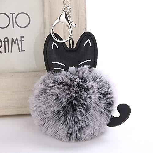 weichuang Llavero con forma de bola de piel de gato de dibujos animados y pompón para mujer, llavero de coche de moda, soporte para mochila, colgante de llavero (color: gris y negro, tamaño: 18 cm)