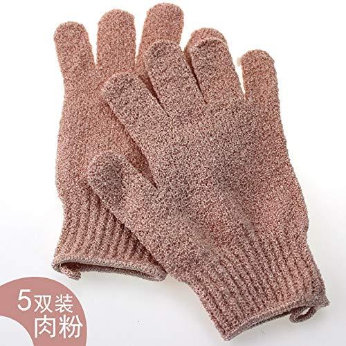 Gants de travail Ménage Gants de bain Five Fingers Double Scrub Gants adultes exfoliants (Color : Pink)
