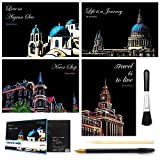 Scratch&Sketch Art Paper(A4) for Kids&Adults, Rainbow Painting Night View Scratchboard, Art&Craft, Engraving...